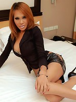 Bubbly Thai ladyboy brandishes her long cock