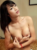 Watch ladyboy unload her extra thick cock